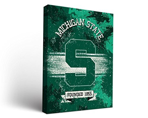 Michigan State Spartansキャンバス壁アートバナーデザイン 18x24  B00WIZKSYS