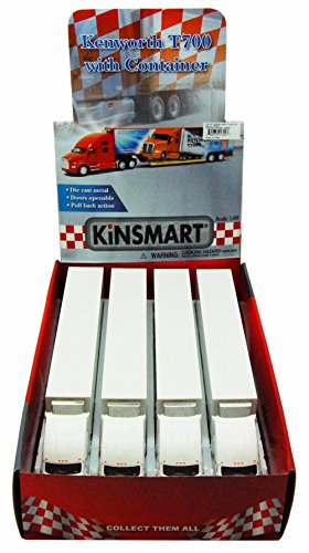 KiNSMART Box of 4 Diecast Model Cars - Kenworth T700 Container Truck, White, 1/68 Scale - Diecast Car Replica Diecast