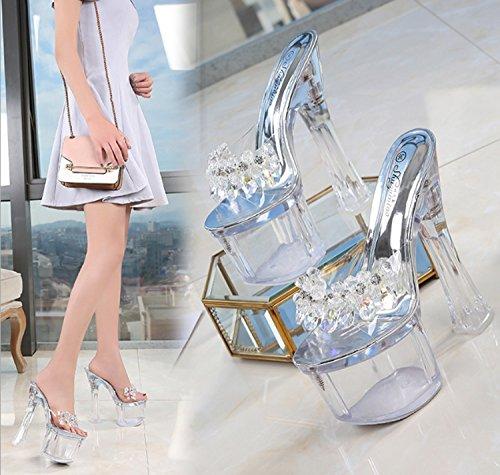 Sandalias Mujer Alto de Cristal para Transparentes Clear Zapatos Huaishu tacón de Mujer Sandalias YxIq55