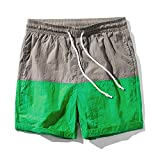 New Multi-Color Mosaic Male Quick Dry Shorts Summer Beach Casual Pants Wild Comfortable Couple Students Shorts Tide,Grass Green,XL