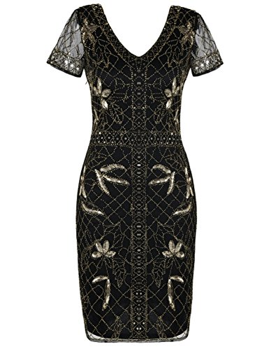 kayamiya Women's 1920s Gatsby Dress Sequin Beaded Cocktail Flapper Dress With Sleeves L Gold -