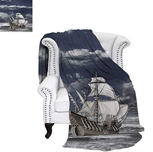 Digital Printing Blanket Cloudy Sky Caribbean Pirates Ship Oil Print Like Art Image Summer Quilt Comforter 80