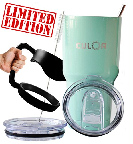 Teal CULOR LIMITED EDITION Spill Protected Tumbler Sets. Premium Stainless Steel Travel Mug (30oz) & Warranty FOREVER. The Perfect Water Bottle, FREE $22.99 BONUS