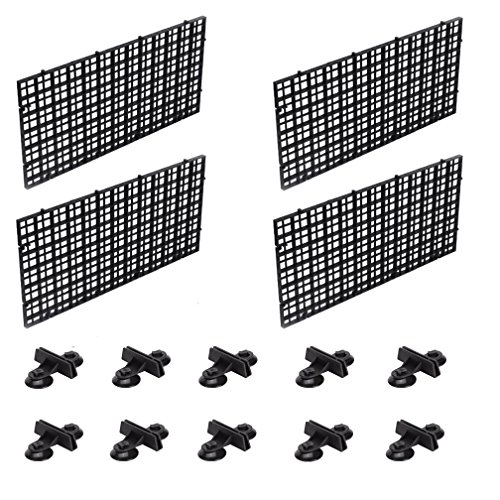 OBANGONG 4 Pcs Grid Isolate Board Divider Fish Tank Bottom Filter Tray Aquarium Crate with 10 Pcs Sucker Clip by by OBANGONG