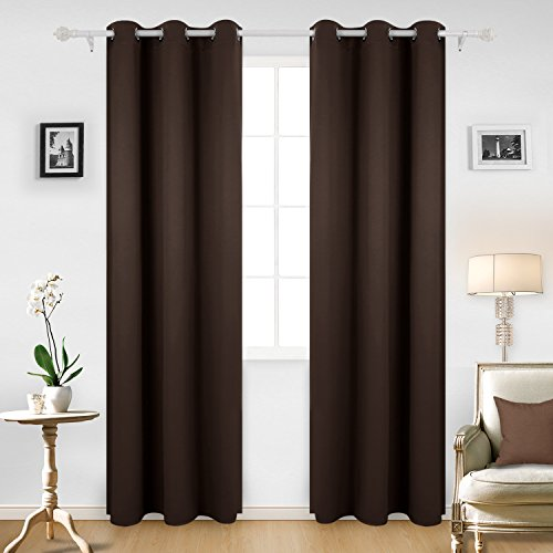 Deconovo Room Darkening Thermal Insulated Blackout Grommet Window Curtain For Infant Room, Chocolate,42x95-Inch,1 Panel Infant Chocolate
