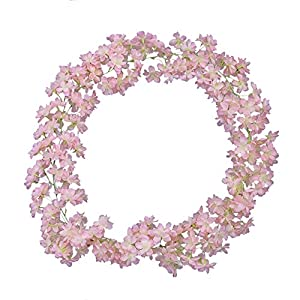 Li Hua Cat Rose Garland Artificial Rose Vine with Green Leaves 63 Inch Pack of 3 Flower Garland For Home Wedding Decoration (wyyh-light pink) 44
