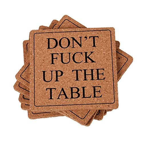 Coasters Cup Mat - Absorbent Cork Coasters Drink Coasters Funny Words Square Coasters Set of 6 Bar Coasters Cup Mat Pad Housewarming Gift