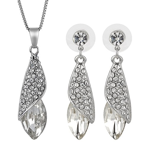 Rizilia Cz Collier Pendentif Boucles d'oreilles Swarovski Elements Crystal White topaze Parures