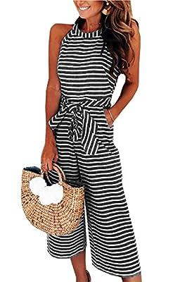 AMiERY Womens Jumpsuits Striped Wide Leg Belted Zipper Spaghetti Strap Capri Loose Sleeveless Jumpsuit Rompers