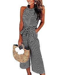 Womens Jumpsuits Striped Wide Leg Belted Zipper Spaghetti Strap Capri Loose Sleeveless Jumpsuit Rompers