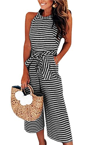 AMiERY Womens Jumpsuits Striped Wide Leg Belted Zipper Spaghetti Strap Capri Loose Sleeveless Jumpsuit Rompers Lounge Pants (M, Black)