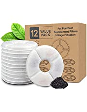12Pcs Pet Fountain Replacement Filter, Activated Carbon Filters for Cat and Dog Water Fountain, Automatic Flower Water Dispenser Filters for Most 54oz/1.6L Water Fountain