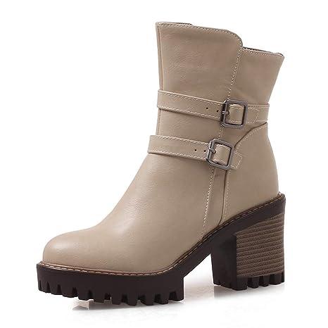 9a827a8c926ac Amazon.com: DETAIWIN Womens Mid Calf Boots Solid Wide High Heels ...