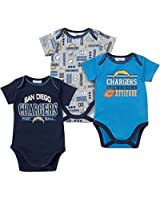 Gerber Baby Boys San Diego Chargers Short Sleeve Infant Bodysuits - 3 Pack