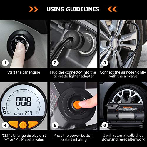 TACKLIFE Tire Inflator ACP1C, DC 12V Portable Air Compressor Pump, Digital Tire Pump with Gauge, LED Flashlight, 4 Nozzle Adaptors, and Extra Fuse - 2 Years Warranty by TACKLIFE (Image #6)