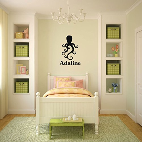 Octopus Wall Decal With Name Personalization Design - Vinyl Sticker Decoration for Boys or Girl's Bedroom, Playroom, Home or Nursery Decor by CustomVinylDecor