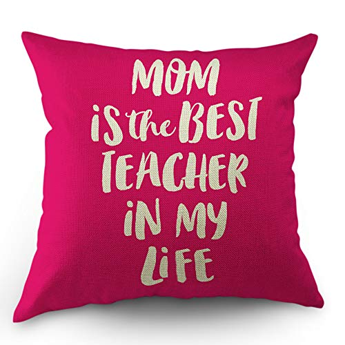 Moslion Quote Pillow Case Mother is The Best Teacher Word Throw Pillow Cover 18 x 18 Inch Cotton Linen Decorative Square Cushion Cover for Easter Sofa Bed Pink