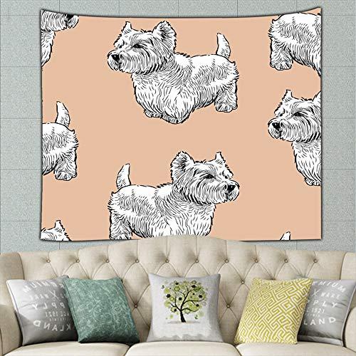 ong8 Scottish Terriers Animals Wildlife Animals Wildlife Hippie Tapestry Wall Art for Living Room Bedroom Dorm Decor 50ʺ × 60ʺ