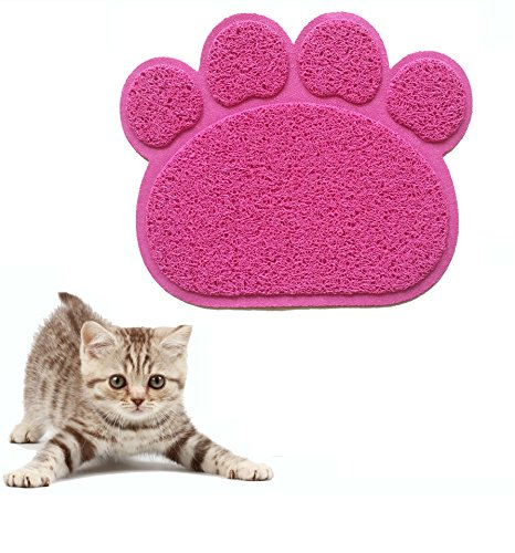Paw Clean Mat (Puppy Cat Feeding Mat Pad Pet Dog Water Bowl Mat Blanket Wipe Clean 15.6 x 11.70.3 Inches Cute Paw PVC Bed Dish Bowl (pink))