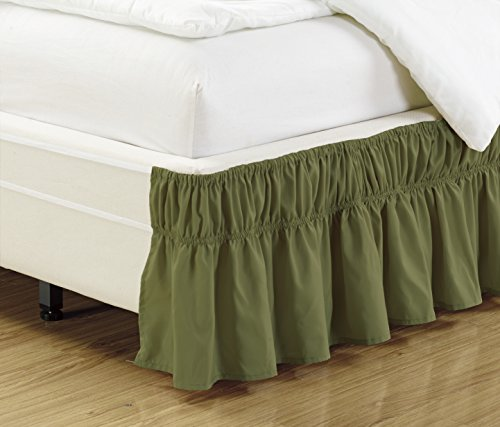 Mk Collection Wrap Around Style Easy Fit Elastic Bed Ruffles Bed-Skirt Queen-king Solid Sage Green New