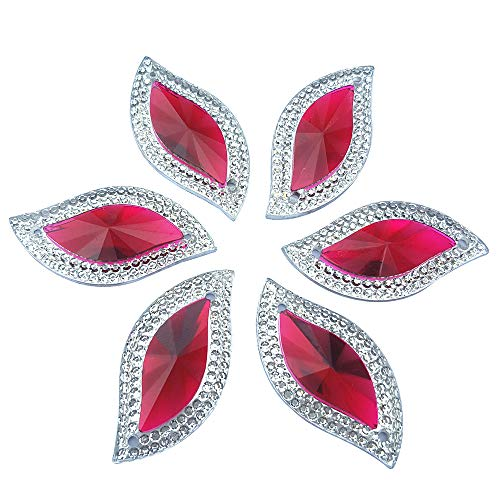 Stone Button - Rhinestones Leaf Shape with Silver Edge Gems Stones and Crystals Wedding Decoration Sew On for Stick-On Dance Costumes Shoes Bag Sewing Wedding Dress Accessory 15x30mm 60pcs 2 Holes (Rose Red)