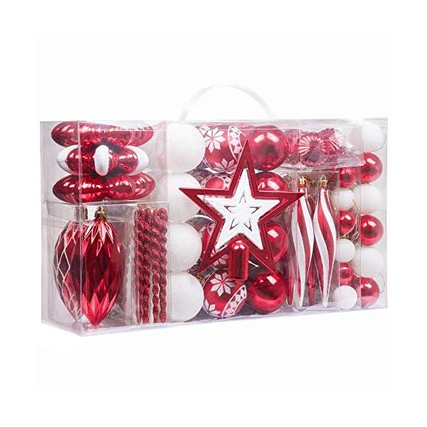 Valery Madelyn Palle di Natale 100 Pezzi di Palline di Natale, 3-5 cm Decorazione Tradizionale Rossa e Bianca Infrangibile con Palle di Natale per la Decorazione Dell'Albero di Natale 1 spesavip