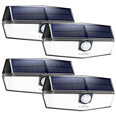 LITOM 120 LED Solar Motion Lights Outdoor, 3 Optional Modes Wireless with 270°Wide Angle, IP67 Waterproof, Portable Solar Powered Security Lights for Front Door, Yard, Garage, Deck, Fence-4 Pack