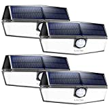 LITOM Motion Sensor Lights, upgraded Solar Panel with 3 Optional Modes and 270°Wide Angle, IP67 Waterproof, Portable Solar Powered Security Light for Porch, Backyard, Front Door, Deck, Fence-4 Pack