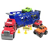 rc dump trucks with trailer - BOLEY 5-in-1 Big Rig Hauler Truck Carrier Toy Complete Trailer with Construction Toy Signs and Monster Jam Trucks Great Toy For Boys, Girls Who Like Vehicle Playsets, Toy Trucks, and Toy Cars !