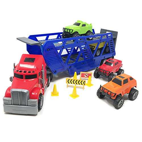 [BOLEY 5-in-1 Big Rig Hauler Truck Carrier Toy Complete Trailer with Construction Signs and Monster Jam Trucks great toy for boys, girls who like vehicle playsets!] (Classic Old Chevy Trucks)