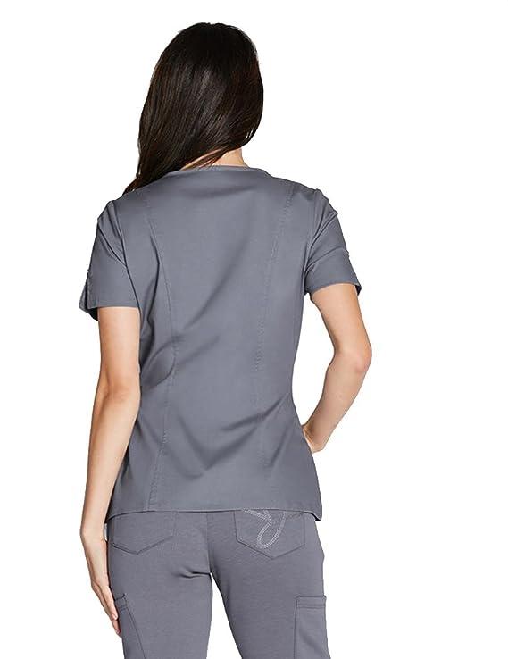 3861d6701df Jaanuu Woman's Hidden Zipper Top Scrub Shirt: Amazon.ca: Clothing &  Accessories