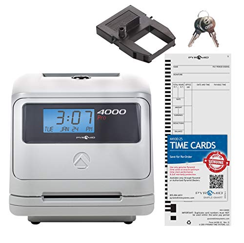 Pyramid 4000 Auto Totaling Time Clock, 50 Employees - Made in ()