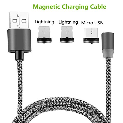 Lightning Charger Micro USB dikesitu 3-in-1 [3.6FT/2.1A] Magnetic Charging Cable with Detachable & Changable Adapters Nylon Braided Wires for Iphone 6s 7 plus 5s Samsung s7 Edge (2 IOS,1 (Motorola V3 Mobile Power Cord)