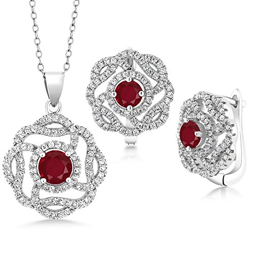 5.20 Ct Round Red Ruby 925 Sterling Silver Pendant Earrings Set