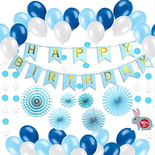 Kit Birthday Happy - Happy Birthday Decorations Blue For Men and Women, 90pcs All-in-One Bday Party Decor Supplies Set with Banner, Star and Polka Paper Garland, Pom Pom Fans, Balloons and Inflator