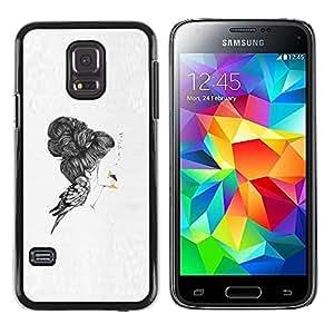 rígido protector delgado Shell Prima Delgada Casa Carcasa Funda Case Bandera Cover Armor para Samsung Galaxy S5 Mini, SM-G800, NOT S5 REGULAR! /Emo Bird Deep Sad Pencil Art Drawing/ STRONG