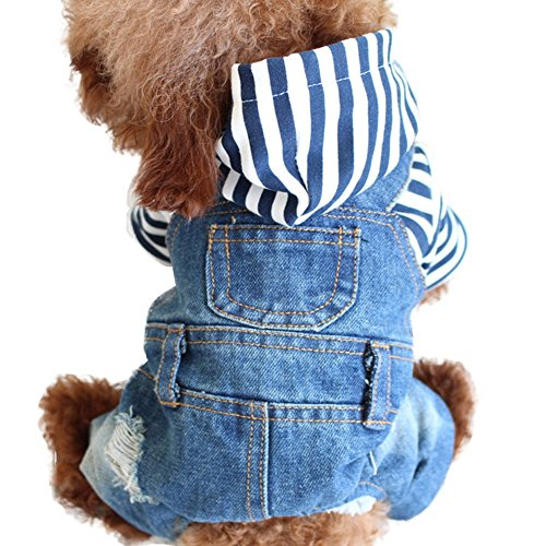 Dora Bridal Pet Dog Clothes Blue Jeans Jumpsuits Winter Warm Fleece One-Piece Jacket Costumes Apparel Hooded Hoodie Coats for Small Puppy Medium Large ()