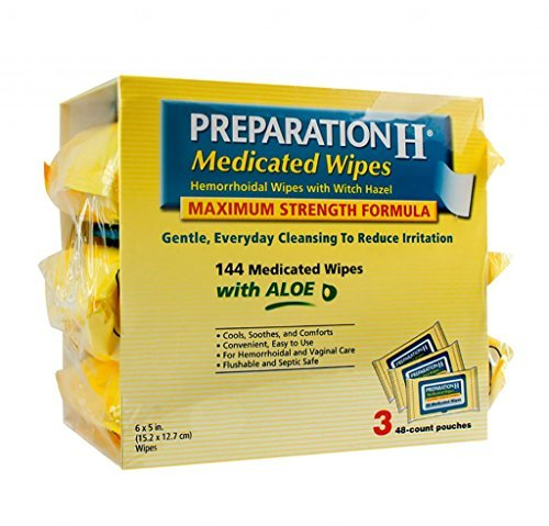 4 Wholesale Lots Preparation H Medicated Wipes Hemorrhoidal Wipes with Witch Hazel, 576 Wipes Total