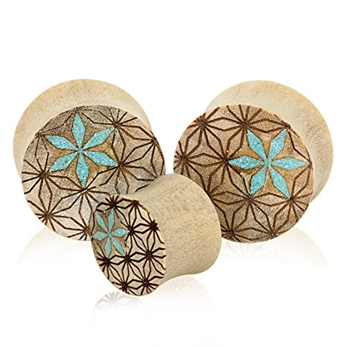 Organic Crocodile Wood Geometric Pattern Saddle Plugs - Sold as a Pair - Multiple Sizes Available (12mm (1/2