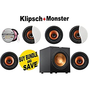 "Klipsch CDT-3650-C II 6.5"" In-Ceiling Speaker (Qty 5) + Klipsch R-10SW Powerful 10"" 300 watts Subwoofer + Monster - Platinum XP Clear Jacket MKIII 50' Compact Speaker Cable - Clear/Copper Bundle"
