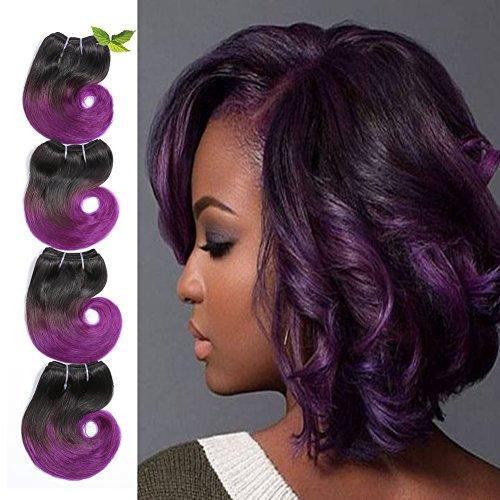 Ombre 1b Purple Human Hair Re4U Short Body Wave Bundles Two Tone Brazilian Hair 6 25g/pc 4pcs/package