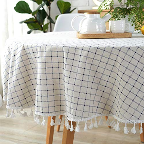 Lahome Checkered Tassel Tablecloth – Cotton Linen Table Cover Kitchen Dining Room Restaurant Party Decoration (Round – 60″, White&Blue Plaid)