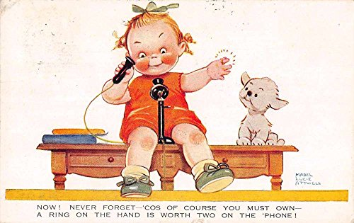 Little girl on phone with puppy by Mabel Lucie Attwell antique pc Z23971 ()
