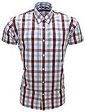 Relco Men's Tartan Check Short Sleeved Shirt Mod Skin West Ham Clobber XL Claret