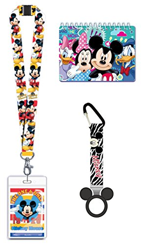 Autograph Mickey (Magical Memories Collection Disney Autograph Book, Lanyard, and Bottle Holder Bundle- Mickey Mouse Trip Vacation Cruise Accessory for ID and Pin Trading (Mickey Mouse))