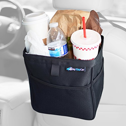 MyTidyCar Car Trash Can - Premium with Pockets & Waterproof Litter Garbage Bag - Large