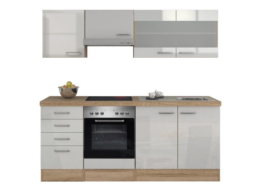 Küchenzeile 210 cm Hochglanz Weiß mit Glashänge- und Schubkastenschrank- Valencia