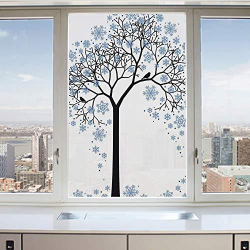 3D Decorative Privacy Window Films,Barren Tree Silhouette with Snowflake Leaves Hand Drawn Interpretation Snow Season Decorative,No-Glue Self Static Cling Glass Film for Home Bedroom Bathroom Kitchen