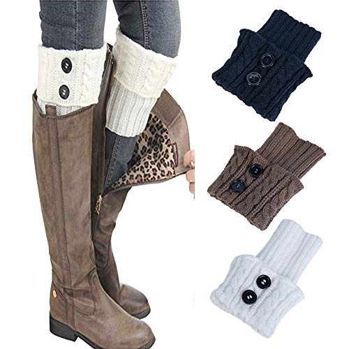 Leg Warmers,TOTOD Clearance Women Winter Over Knee Socks Warm Thick Crochet Knit Boot Cuff Short Boot Cover,3 Pairs (Black+Brown+White)