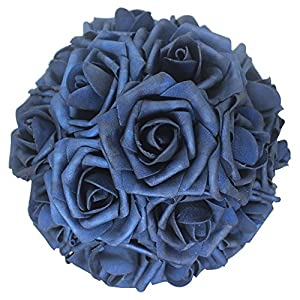 AnParty 50pcs Artificial Flower,Real Touch Artificial Foam Roses Decoration DIY for Wedding Bridesmaid Bridal Bouquet Centerpieces Party (50, Navy Blue)